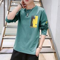 长袖t恤男秋季2019新款韩版潮流上衣服男士纯棉圆领打底衫