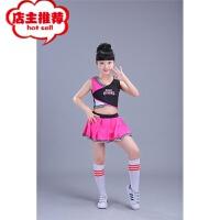 儿童拉拉队服装男女学生啦啦操韩版衣服校园健美操演出表演服 枚红色