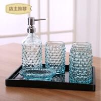 欧式高档玻璃卫浴五件套浴室用品套件创意卫生间洗漱杯漱口杯套装SN8341 六件套(含大托盘) 珠点款