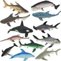 海洋动物模型大鲨鱼海洋生物儿童玩具12只仿真软体塑胶动物玩具模型套装-20厘米