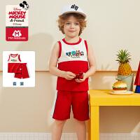 【2件3折参考价:50】迷你巴拉巴拉男童短袖套装米奇IP2020夏装童装新款儿童宝宝T恤套