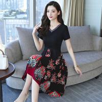 时尚品牌大码女装很仙的法国小众夏装2019新款胖妹妹遮肚民族风连衣裙减龄SN4346 2X