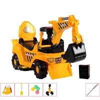 儿童电动滑行挖掘机男孩玩具车挖土机可坐可骑大号学步钩机工程车 大号电动 带音乐帽子爪子后兜+备用电瓶