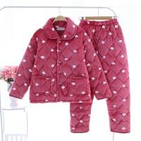 冬季珊瑚绒睡衣女保暖加厚法兰绒女士中老年人妈妈中年家居服套装 粉红色 5004