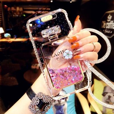 奢华苹果6plus手机壳硅胶防摔iphone6s透明流沙钻壳7来电闪挂绳女