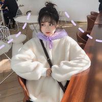 秋冬装韩版宽松中长款可爱毛毛绒卫衣女长袖上衣外套加绒加厚 白色