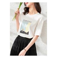 【3折折后价:123元 叠券更优惠】OSA欧莎白色女士印花短袖T恤2021新款夏季时尚修身冰丝体恤上衣ins潮