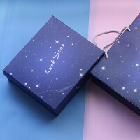 礼品盒 大号创意包装盒子化妆品收纳盒生日礼物女生小清新正方形伴手礼盒圣诞节礼物送女友 +填充物+片