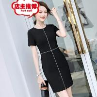 职业女士连衣裙2019新款OL夏季收腰时尚通勤气质黑色正装裙工作服 黑色连衣裙