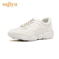 【3折再减80】Safiya/索菲娅2019秋季新款圆头深口中跟小白鞋单鞋女SF93112201