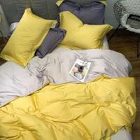 春秋季简约60支长绒棉四件套刺绣全棉纯棉1.5m双拼被套1.8米床单