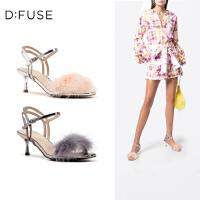 D:Fuse/迪芙斯夏季新款优雅毛毛装饰细高跟凉鞋女DF92115055
