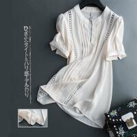 新款��雅修身女�r衫雪�女�h逸上衣超仙2018新款白色�r衫��松遮肚子雪�衫