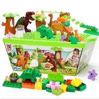 儿童积木玩具1-2-3岁宝宝小孩子恐龙积木桌男孩拼装