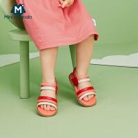 【618年中庆 限时秒杀价:99】迷你巴拉巴拉儿童凉鞋2020夏女宝宝时尚彩条魔术贴凉鞋柔软不磨脚