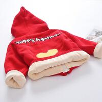 宝宝针织开衫外套加绒加厚冬季男女童毛衣连帽2018新款时髦线衣潮