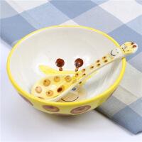 可爱健康儿童碗韩式卡通手绘釉下彩小动物5寸陶瓷碗勺套装