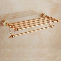 卫生间镀玫瑰金毛巾架浴室五金挂件套装欧式卫浴收纳置物架