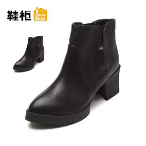 【双十一狂欢购 1件3折】Daphne/达芙妮旗下鞋柜 秋冬女靴子潮欧美尖头套筒短筒低跟单皮靴