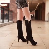 彼艾2017秋冬新款女靴绒面水钻女靴子 高跟细跟两穿防水台黑色长靴子女靴子