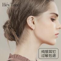 纯银耳钉女925银耳饰气质耳环睡觉不用摘的耳扣简约小耳圈韩国