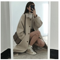 毛呢外套女中长款韩版宽松学生2019秋冬装呢子大衣秋装上衣潮