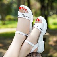 回力凉鞋女2020夏季新款坡跟松糕厚底休闲舒适百搭中跟一字扣凉鞋