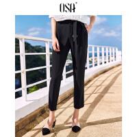 【3件6.5折】OSA欧莎2019夏装新款女装 时尚系带个性裤脚修身显瘦锥形休闲裤