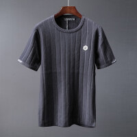 短袖T恤男圆领条纹字母徽章提花男士针织衫修身韩版 秋装潮