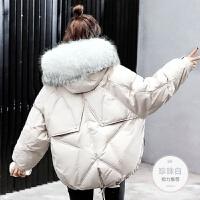 冬季2019时尚韩版女学生棉袄宽松毛领面包服帽子加厚短款 M 90-120斤