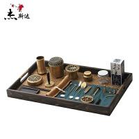 精炼黄铜香道用具套装纯铜空熏杯香粉打篆工具隔火熏香炉