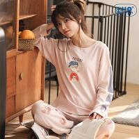 睡衣女秋纯棉长袖套装春秋季新款卡通印花韩版学生少女家居服全棉