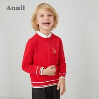 【活动价:149.5】安奈儿童装男女童圆领毛衣2020春季新款年年有鱼中国风针织衫秋装