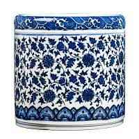 景德镇陶瓷器仿古青花瓷笔筒花瓶花插 办公室书房装饰品摆件礼品
