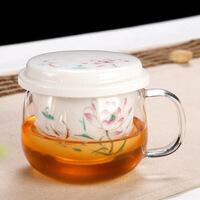 耐热玻璃茶杯带把陶瓷过滤内胆带盖家用办公室男女茶水分离泡茶杯