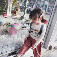 童装女童T恤春装2019新款圆领上衣卡通韩版儿童打底T恤 白色 现货