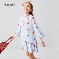 【3件3折价:83.7】安奈儿童装女童连衣裙长袖2020春季新款洋气中大童裙子荷叶边裙摆