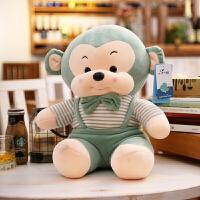 软体小熊抱枕泰迪熊毛绒玩具抱抱熊公仔小猴子小狗布娃娃猴子玩偶 绿色 猴子