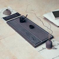乌金石茶盘石头茶台家用雕刻石茶海新中式天然简约排水式大号