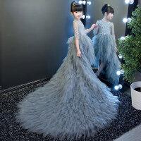 灰色儿童拖尾羽翼长袖儿童公主裙梯台走秀演出礼服女童礼服裙拖尾 灰色