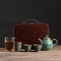复古粗陶一壶四杯便携旅行茶具套装陶瓷家用办公泡茶壶小套装绿水青山八骏茶具茶道泡茶器