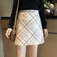 秋冬新款韩版高腰显瘦复古格子毛呢半身裙短裙包臀裙A字裙子