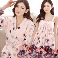 睡衣女冬季韩版珊瑚绒法兰绒性感浴衣睡袍两件套装学生家居服秋冬 紫色 水墨画两件套