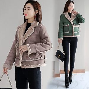 RANJU 然聚2018冬季新品新款秋冬外套女短款仿羊羔绒韩版休闲加绒加厚棉衣潮