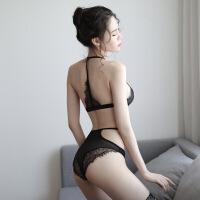 女诱惑新款三点式性感睡衣连体绳衣透明蕾丝套装内衣野外露出诱惑套装 8163 黑色 均码