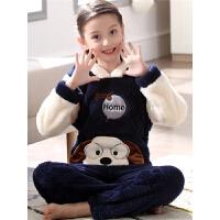 儿童珊瑚绒睡衣女童秋冬绒厚款小女孩法兰绒宝宝家居服套装
