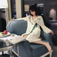 中国风法兰绒公主睡裙女冬季长袖加厚加绒睡袍浴袍睡衣秋冬家居服 白色 预售3天左右 均码