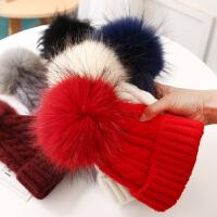 韩版宝宝帽子秋冬季保暖毛球亲子针织毛线帽