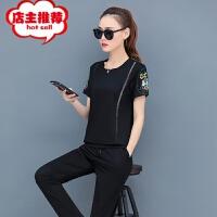 运动套装女夏装2019新款韩版宽松显瘦卫衣大码短袖长裤休闲两件套