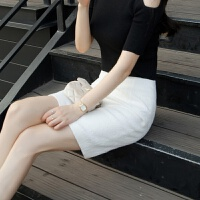 短裙女夏包臀裙白色半身裙春2018新款百搭大�a胖mm高腰一步裙半身 白色 短裙